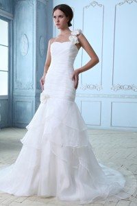 Modest One Shoulder Court Train Organza Ruch Wedding Dress