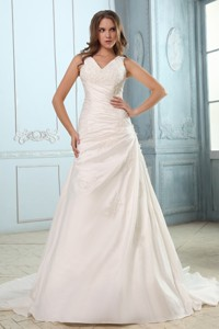 Brand New V-neck Court Train Taffetaruch And Appliques Wedding Dress