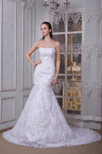 Perfect Mermaid Strapless Court Train Taffeta and Lace Wedding Dress