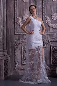 Customize Column / Sheath One Shoulder Watteau Train Lace Appliques With Beading Wedding Dress
