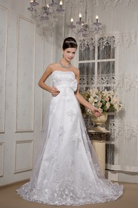 Lovely Strapless Court Train Lace Sash Wedding Dress