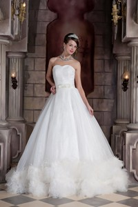 Custom Made Sweetheart Chapel Train Organza Feather Wedding Dress