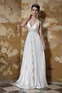 Modest Column Halter Court Train Elastic Woven Satin Beading Wedding Dress