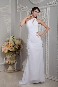 Simple Column One Shoulder Brush Train Chiffon Ruch Wedding Dress