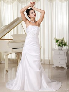 Appliques Strapless Custom Made Column Strapless Ivory Skirt For Wedding Dress