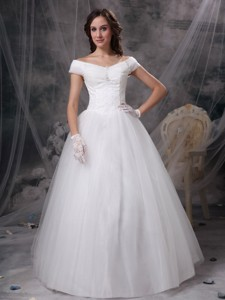 Beautiful Off The Shoulder Floor-length Appliques Satin And Tulle Wedding Dress