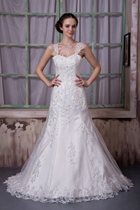 Luxurious Straps Court Train Taffeta And Lace Beading Wedding Dress