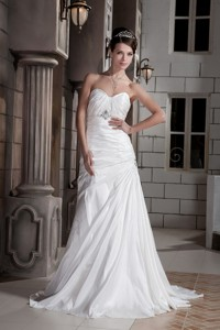 The Most Popular Princess Sweetheart Court Train Taffeta Beading And Ruch Wedding Dress