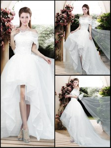 Pretty Appliques And Bowknot High Low Wedding Dress With Cap Sleeves