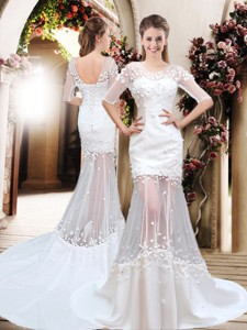 Exquisite Column Scoop Brush Train Appliques Wedding Dress With Half Sleeves