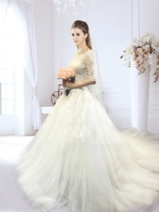 Gorgeous Half Sleeves Off the Shoulder Wedding Dress with Court Train