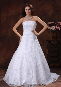 Troy Alabama Custom Made Strapless Wedding Dress With Lace Over Shirt In Tuscaloosa Alabama