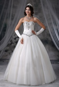 Logan Iowa Beaded Decorate Bodice Ball Gown Wedding Dress Tulle Floor-length