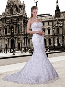 Mermaid Sweetheart Lace Wedding Dress With Appliques