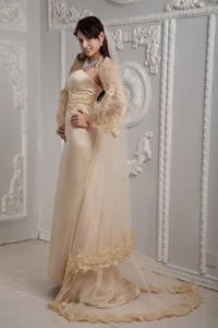 Roamntic Champagne Column Strapless Brush Train Satin Lace Wedding Dress