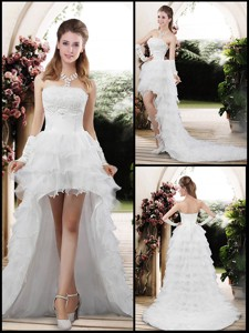 Fashionable Strapless High Low Appliques Wedding Dress
