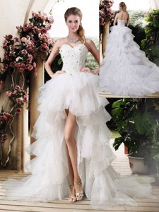 Gorgeous High Low Wedding Dress With Beading And Ruffles