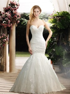 Popular Mermaid Sweetheart Wedding Dress With Appliques And Ruching