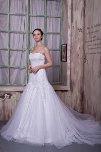 Custom Made Strapless Court Train Taffeta And Tulle Appliques Wedding Dress
