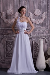 Lovely Empire One Shoulder Court Train Chiffon Ruch Wedding Dress
