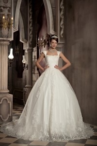 Modest Ball Gown Square Chapel Train Lace Wedding Dress