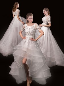 Latest Appliques High Low Wedding Dress With Short Sleeves