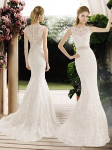 Hot Sale Mermaid Lace And Belt Wedding Dress With Brush Train