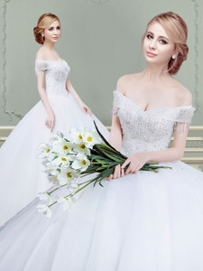 New Arrivals Really Puffy Beaded Wedding Dress with Off the Shoulder