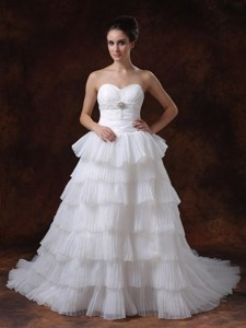Layer Sweetheart Chapel Train White Hall Wedding Dress With Beading