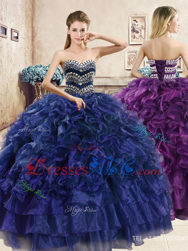b6d3c316ac3 Perfect Big Puffy Navy Blue Quinceanera Dress with Beading and Ruffles