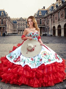 Luxurious White And Red Quinceanera Dress With Ruffled Layers And Embroidery