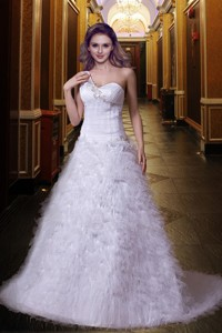 Cheap One Shoulder Brush Train Appliques Wedding Dress with Lace Up