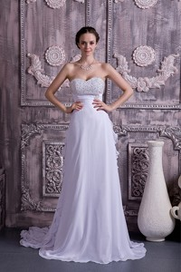 Brand New Empire Sweetheart Court Train Chiffon Beading Wedding Dress