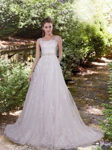 Luxurious A Line Square Court Train Lace Wedding Dress