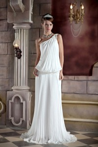 Beautiful Column One Shoulder Court Train Organza Pleat and Beading Wedding Dress