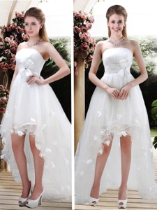 Beautiful Strapless High Low Wedding Dress With Appliques And Belt