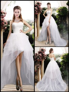 New Arrivals High Low Wedding Dress With Ruffles