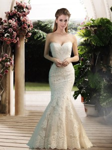 Modest Mermaid Sweetheart Lace Wedding Dress With Floor Length