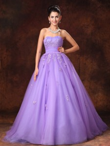 Lilac Sweetheart Tulle Appliques Court Train Custom Made Wedding Dress