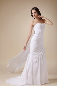 Elegant Column Sweetheart Watteau Train Chiffon Ruch Wedding Dress
