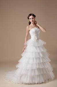 Beautiful Strapless Brush Train Taffeta And Organza Hand Made Flower And Appliques Wedding Dr
