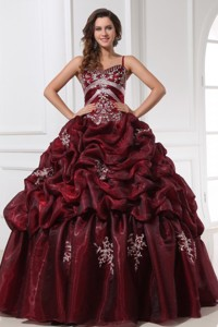 Spaghetti Straps Burgundy Long Quinceanera Dress with Appliques