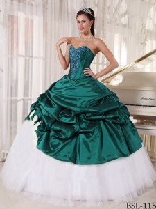 Ball Gown Sweetheart Turquoise and White Quinceanera Dress with Appliques