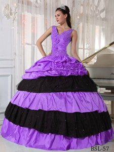 Lilac and Black V-neck Floor-length Taffeta Beading Quinceanera Dress