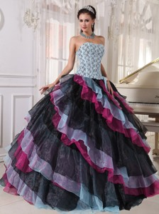 Multi-color Ball Gown Strapless Floor-length Organza Appliques With Beading Quinceanera Dress