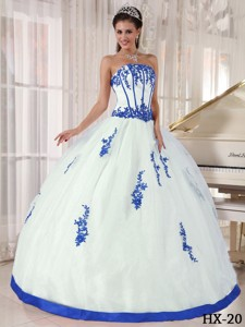 White and Blue Strapless Floor-length Appliques Quinceanera Dress