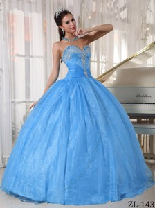 Baby Blue Ball Gown Sweetheart Floor-length Taffeta and Organza Appliques Quinceanera Dress