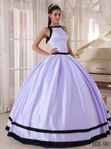 Lavender and Black Ball Gown Bateau Floor-length Satin Quinceanera Dress