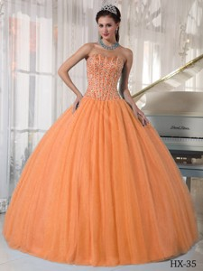 Orange Red Ball Gown Sweetheart Floor-length Tulle Beading Quinceanera Dress