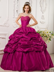 Hot Pink Ball Gown Sweetheart Floor-length Tafftea Appliques Quinceanera Dress